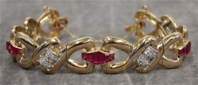 JEWELRY. Retro 18kt Yellow Gold, Diamond and Ruby
