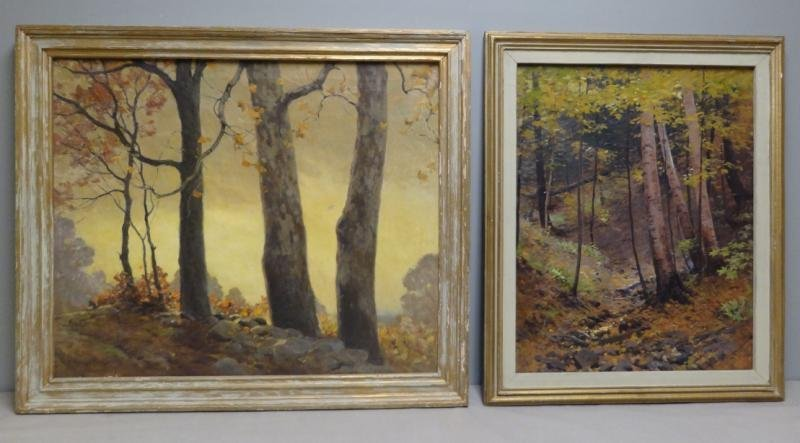 ANDERSON, Victor C. 2 Oils on Canvas of Wooded