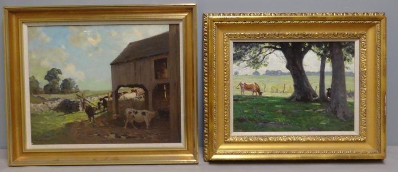 ANDERSON, Victor C. 2 Oils on Board of Cows.