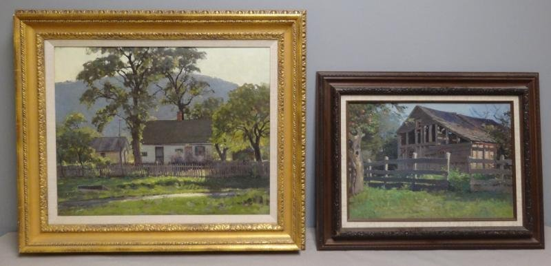 ANDERSON, Victor C. 2 Oils on Canvas of Houses