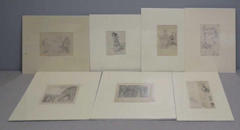 ANDERSON, Victor C. 7 Pencil or Ink Illustrations.