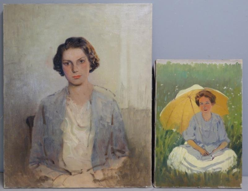 ANDERSON, Victor C. 2 Oil on Canvas Portraits.