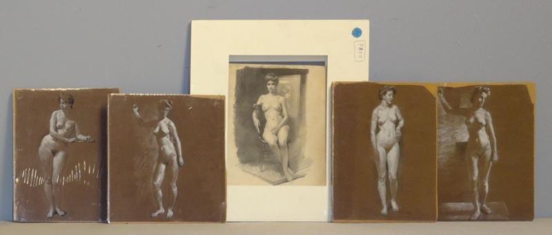 ANDERSON, Victor C. 5 Nude Studies on Paper.