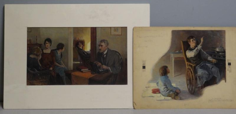 ANDERSON, Victor C. 2 Oil on Board Story