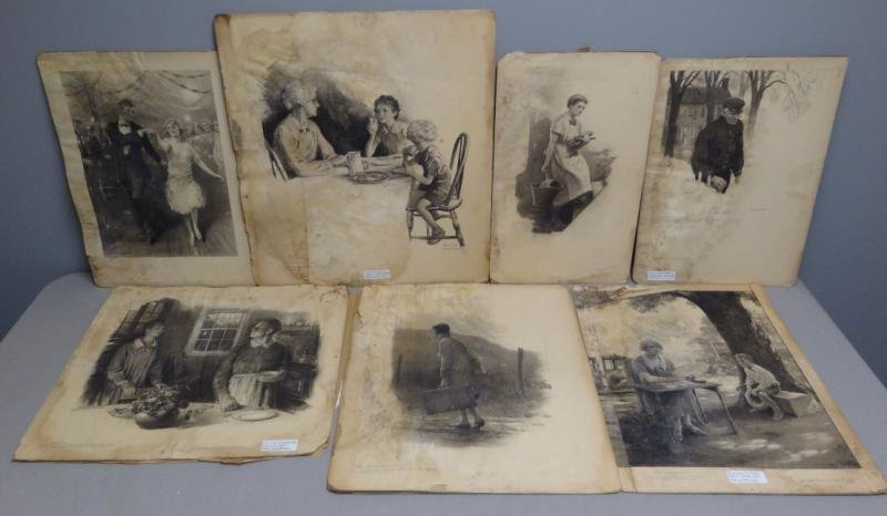 ANDERSON, Victor C. 5 Charcoal Illustrations. As