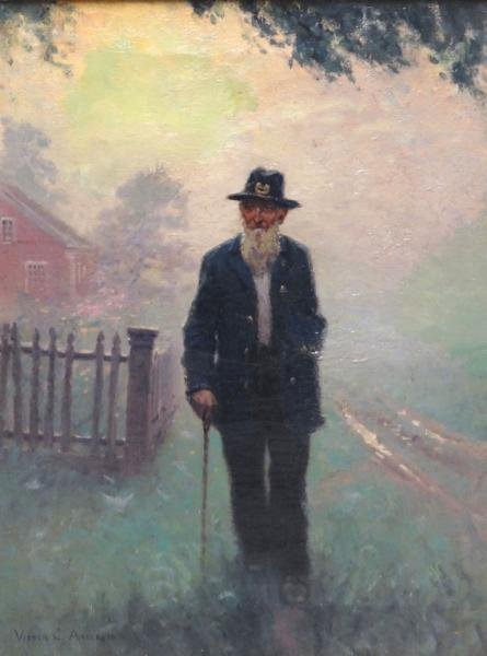 """ANDERSON, Victor C. Oil on Canvas """"The Last"""