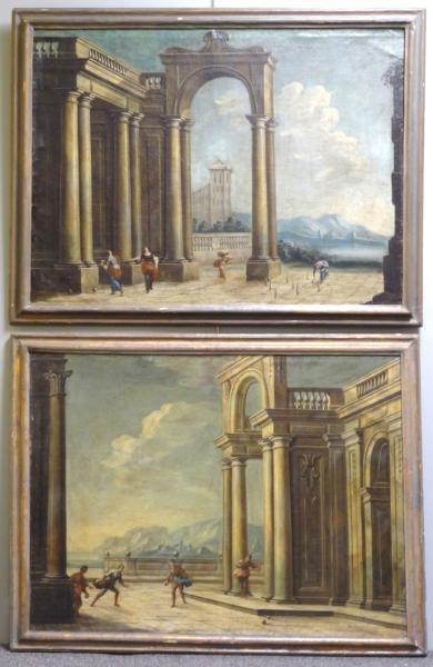 Pair of Italian Old Master Cappricio Oils on Canvas.