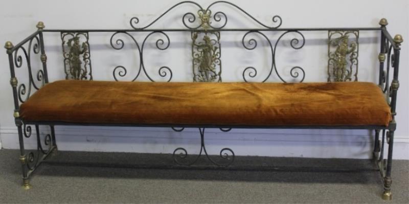 Oscar Bach Wrought Iron and Bronze Long Bench.