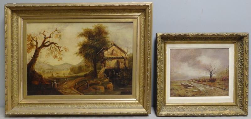 Two 19th C. Oil on Canvas Village Scenes.
