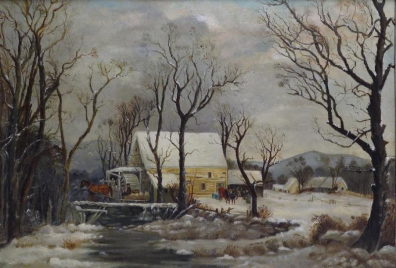 19th C. Oil on Canvas Winter Farm Scene.