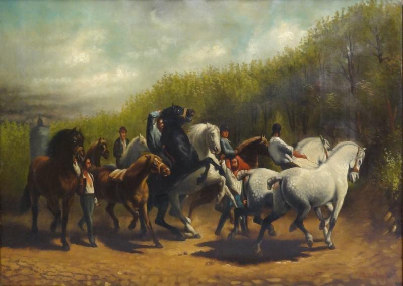 """POWIS, Paul. Oil on Canvas """"The Horse Fair"""""""
