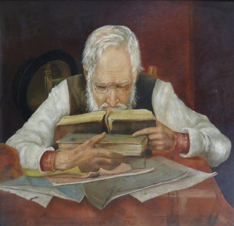19th C. Oil on Canvas of a Scholar.
