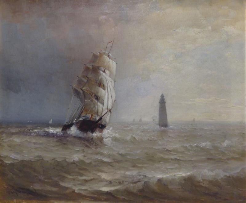 JOHNSON, Marshall. Oil on Canvas. Clipper Ship
