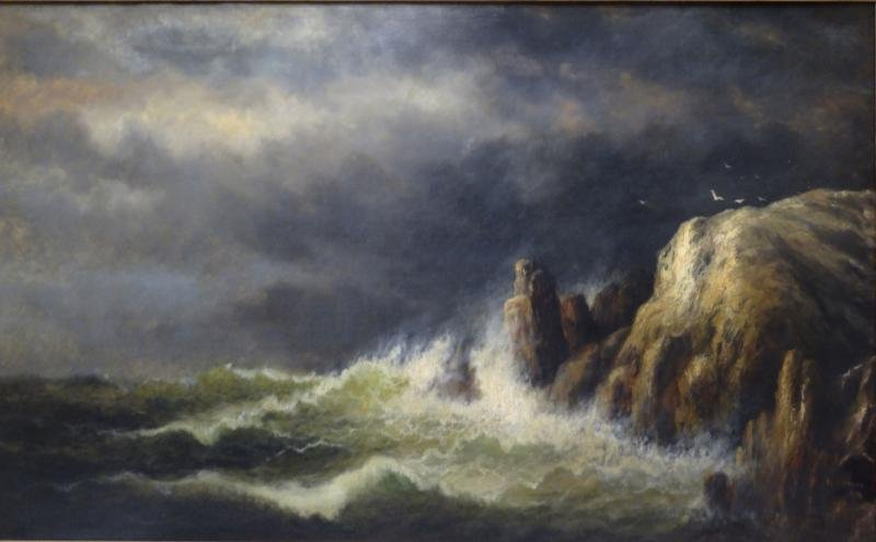 """WEBBER, Wesley. Oil on Canvas """"Windy Day, Grand"""