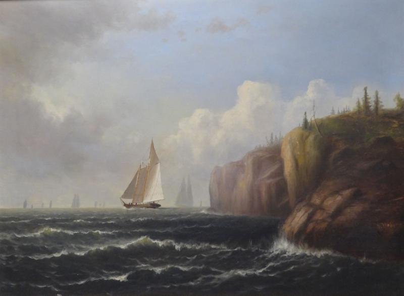 WEBBER, Wesley. Oil on Canvas of Ships at Sea Near