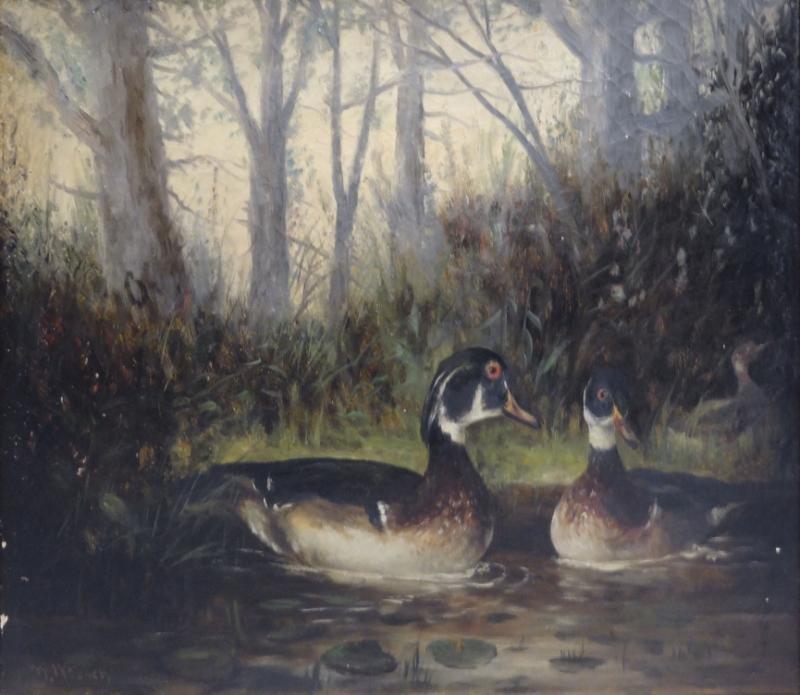 WEBBER, Wesley. Oil on Canvas of Ducks in Pond.