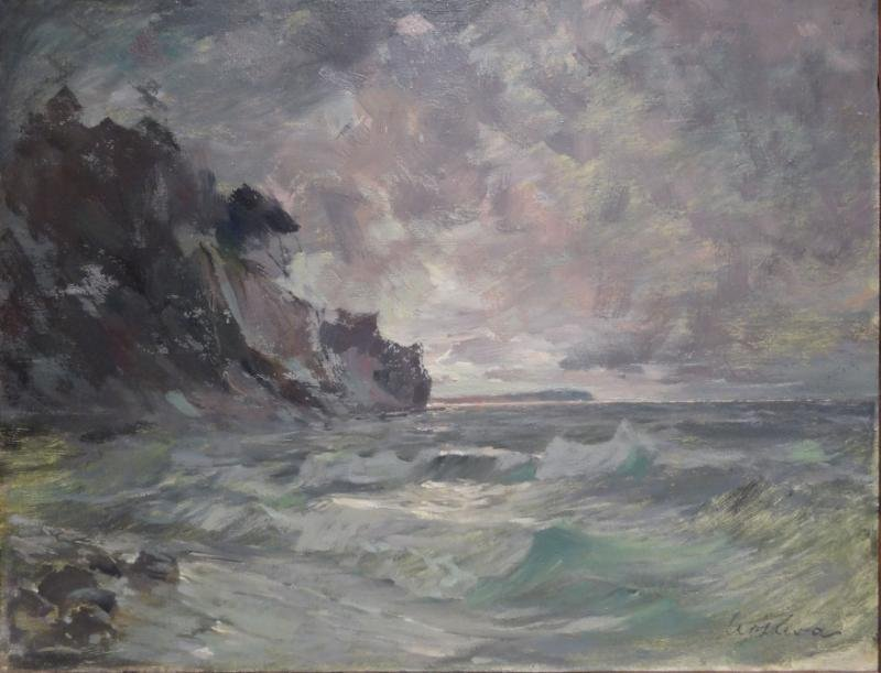 Signed Oil on Canvas Seascape.