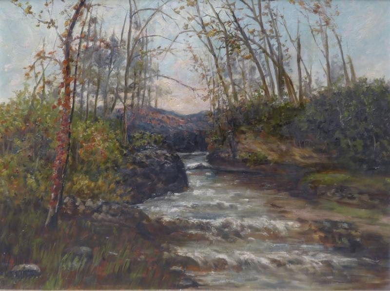 Late 19th C. Oil on Canvas River Landscape.