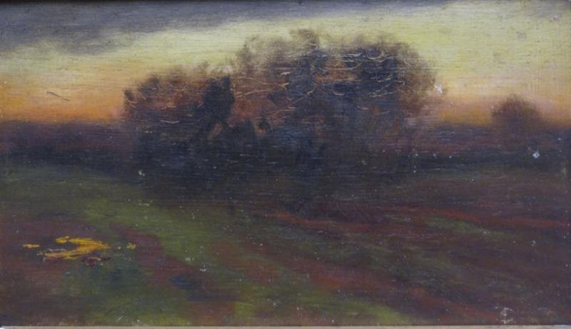 Attributed to George Inness Oil on Board