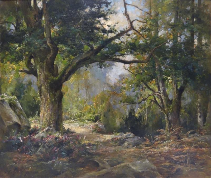 BERTHELON, Eugene. Oil on Canvas Forest Landscape.