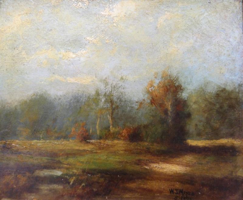 MEYER, W. J. 1920 Oil on Board Tonalist Landscape.