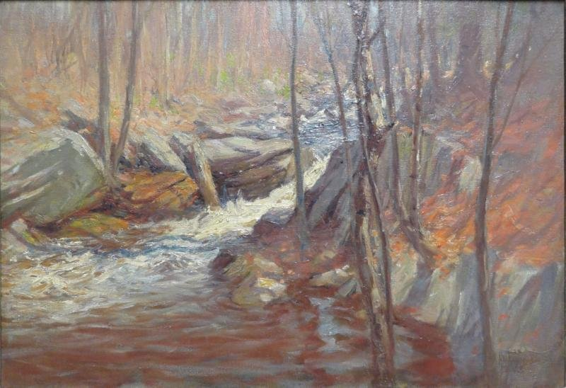 ROBINSON, Hal. Oil on Canvas of a Forest Stream.