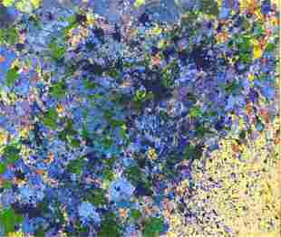 "TING, Walasse. 1968 Acrylic on Canvas. ""Floating"