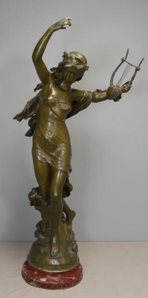 """MOREAU, Mathuin. Bronze """"Danseuse a la Lyre."""""""