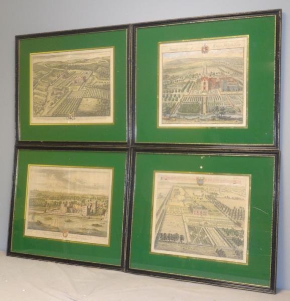 Set of 4 Hand-Colored Engravings in Eglomise
