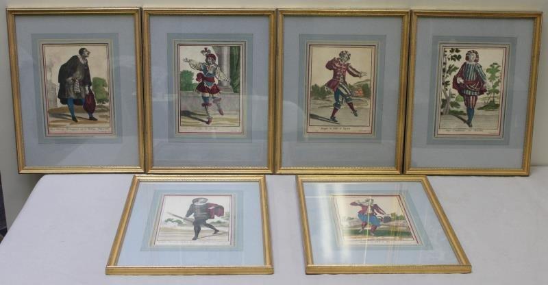 Set of 6 Antique Commedie del Arte Colored