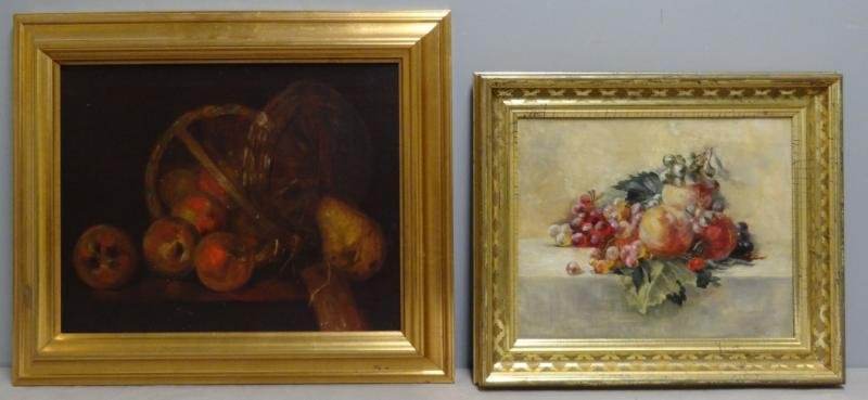 Two Oil on Canvas Fruit Still Lifes.