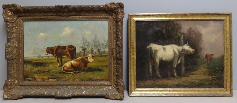 Two Oils on Canvas of Cows in Pastures.