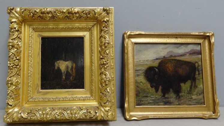 Two 19th C. Oils on Panel of Animals.