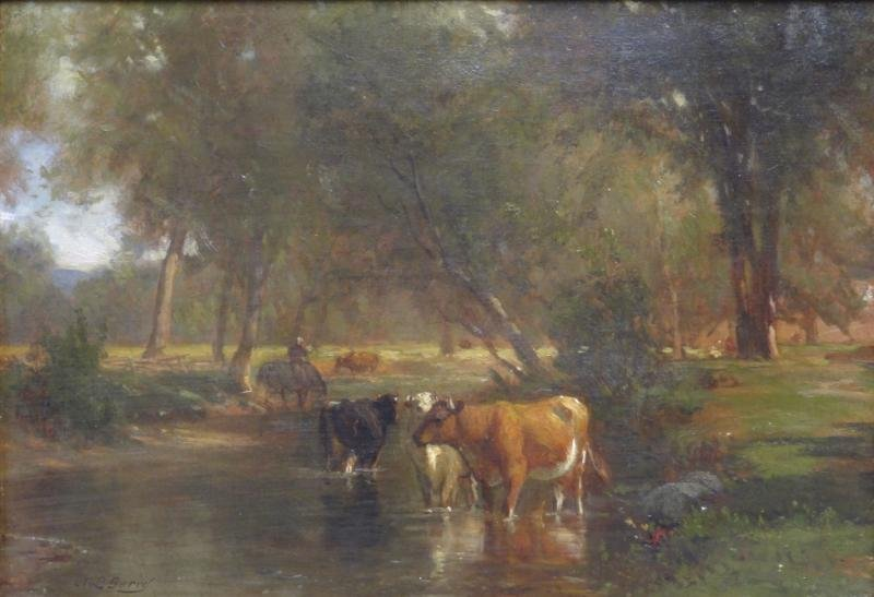 """GERRY, Samuel L. Oil on Canvas """"Cows by a Stream."""""""
