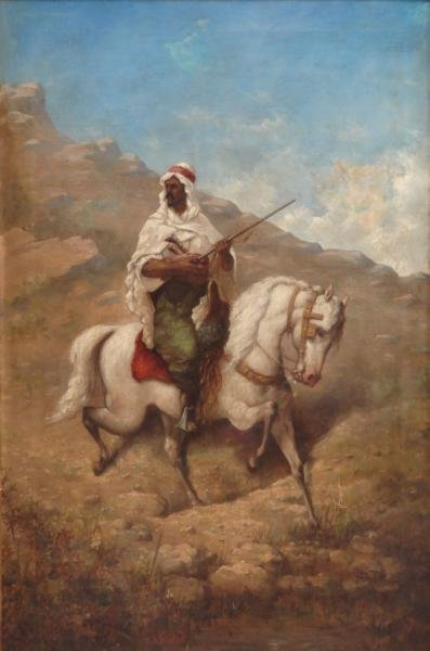 Signed 19th C. Orientalist Oil on Canvas of an