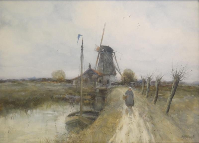 GRUPPE, Charles P. Watercolor. Figure in Dutch
