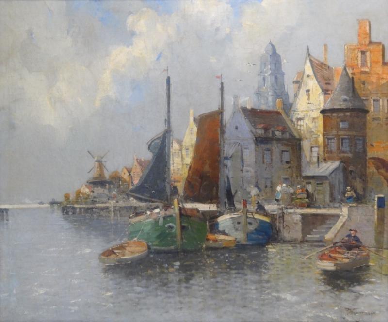 WAGNER, F. Oil on Canvas. Dutch Harbor Scene.