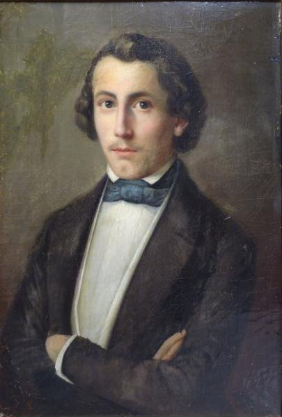 19th C. Oil on Canvas Portrait of a Young Man.