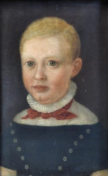 19th Century Oil on Canvas Portrait of a Young Boy