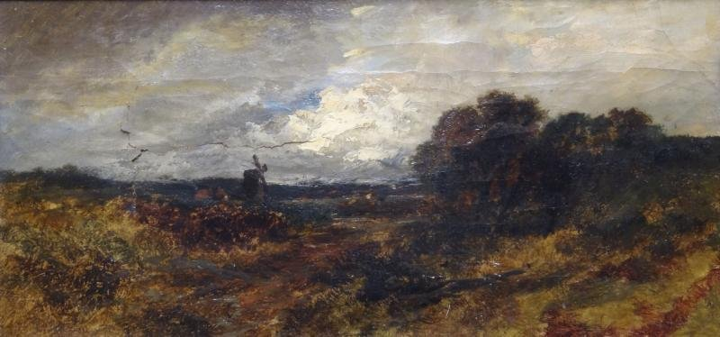 """18th / 19th C. Oil on Canvas Landscape """"Evening,"""