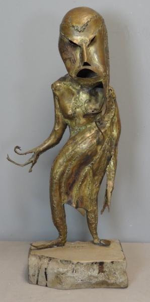 "REINHOUD. Brass Sculpture ""Le Peril Blanc."""