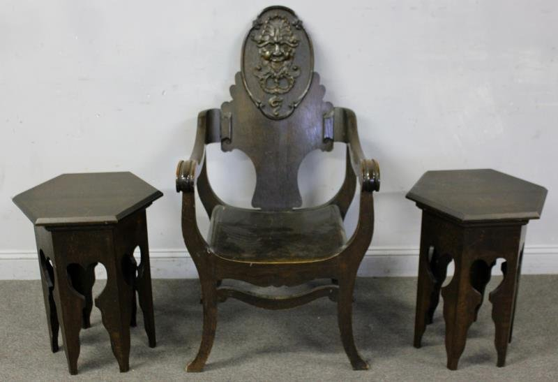 Arts and Crafts Lot of Oak Furniture to Include: