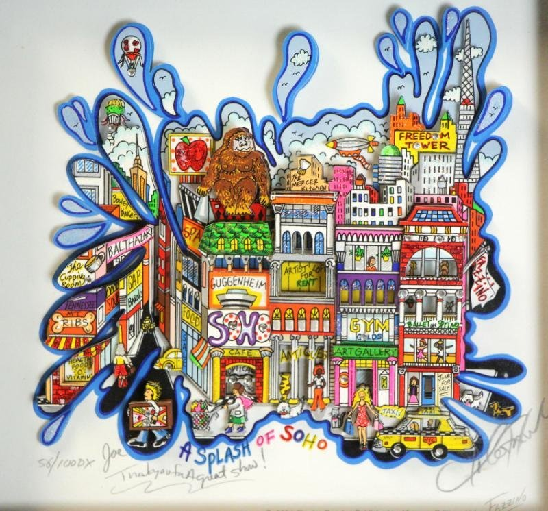 "FAZZINO, Charles. 3-D Serigraph ""Splash of SOHO."""