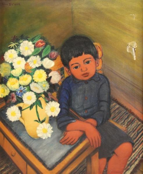 DEPREY, Juan. Oil on Canvas of a Seated Boy with