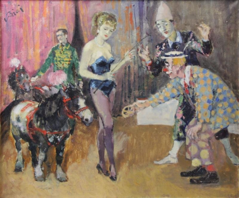 BIAI FOGLEIN, Istvan. Oil on Canvas. Circus Scene.