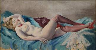 GANSO, Emil. Oil on Board of a Reclining Nude.
