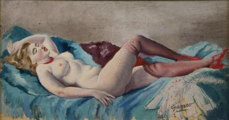 GANSO, Emil. Oil on Board of a Reclining Nude.