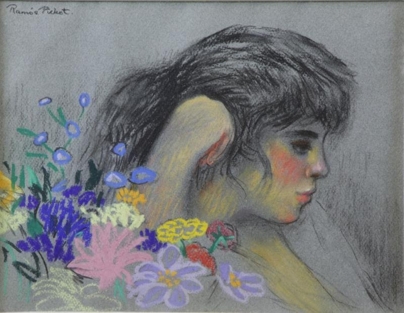 PICHOT SOLER, Ramon. Pastel of a Girl with Flowers