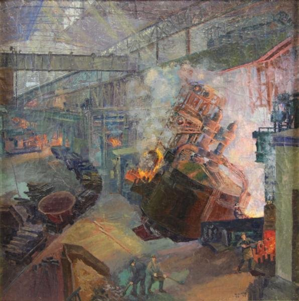 CIZEK, Karl. 1943 Oil on Canvas Industrial Scene.