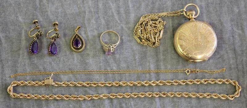 JEWELRY. Miscellaneous 14kt Gold Jewelry Grouping.